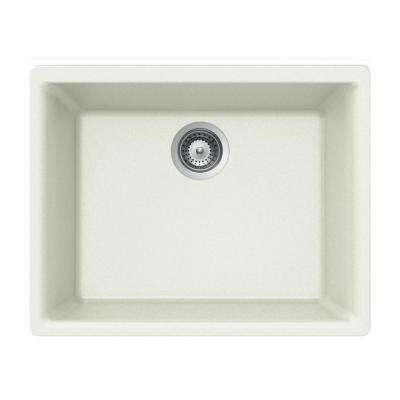 Quartztone Undermount Granite Composite 24 in. 1-Hole Single Bowl Kitchen Sink in Cloud