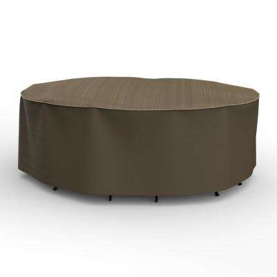 NeverWet Hillside Large Black and Tan Oval Table and Chairs Combo Cover