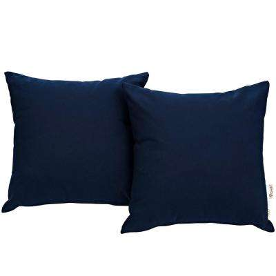 Summon Sunbrella Square Outdoor Throw Pillow in Navy 2-Piece Set