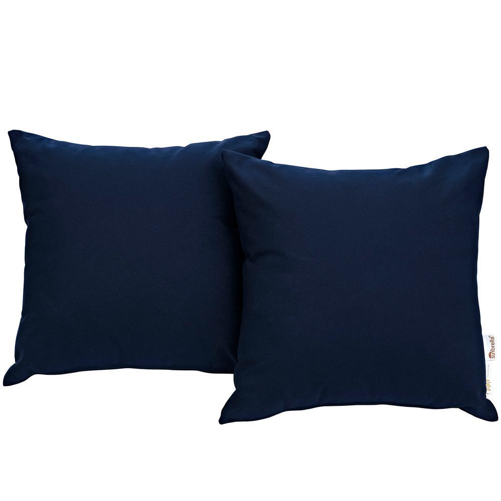 Summon Sunbrella Square Outdoor Throw Pillow in Navy 2-Piece Set