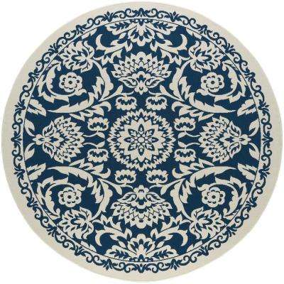 Basile Navy 8 ft. x 8 ft. Round Indoor/Outdoor Area Rug