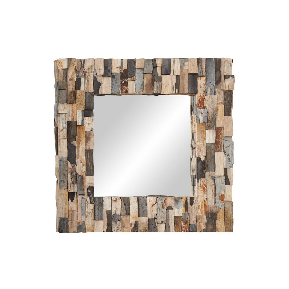 LITTON LANE Medium Square Brown Contemporary Mirror (32 in. H x 3 in. W)