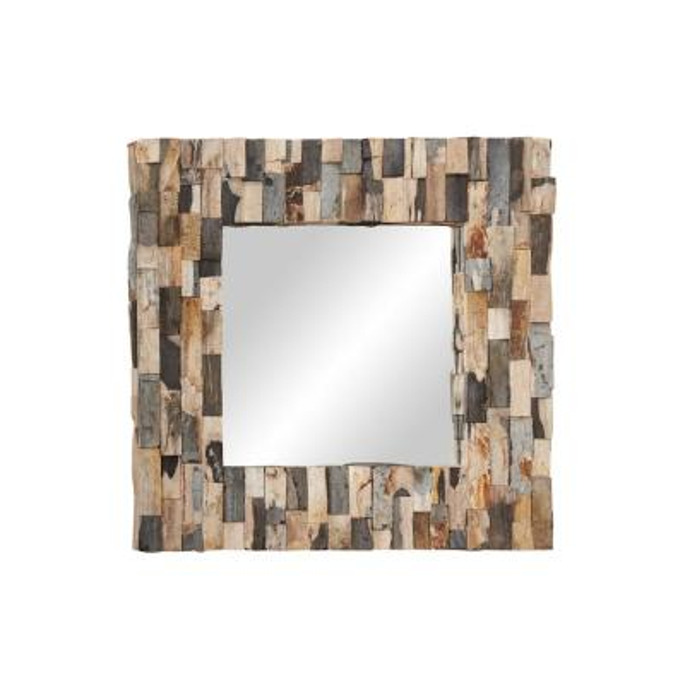 Medium Square Brown Contemporary Mirror (32 in. H x 3 in. W)