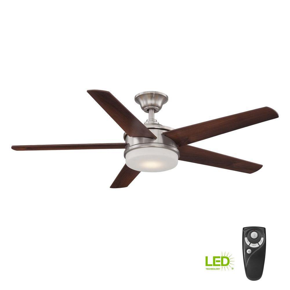 Home Decorators Collection Davrick 52 in. LED Indoor Brushed Nickel Ceiling Fan with Light Kit and Remote Control