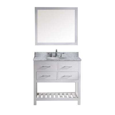 Caroline Estate 36 in. W x 36 in. H Vanity with Marble Vanity Top in Carrara White with White Round Basin and Mirror