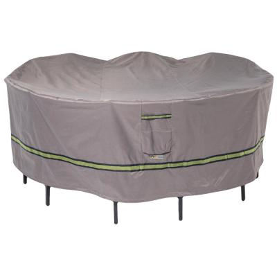 Soteria 90 in. Grey Round Patio Table with Chairs Cover