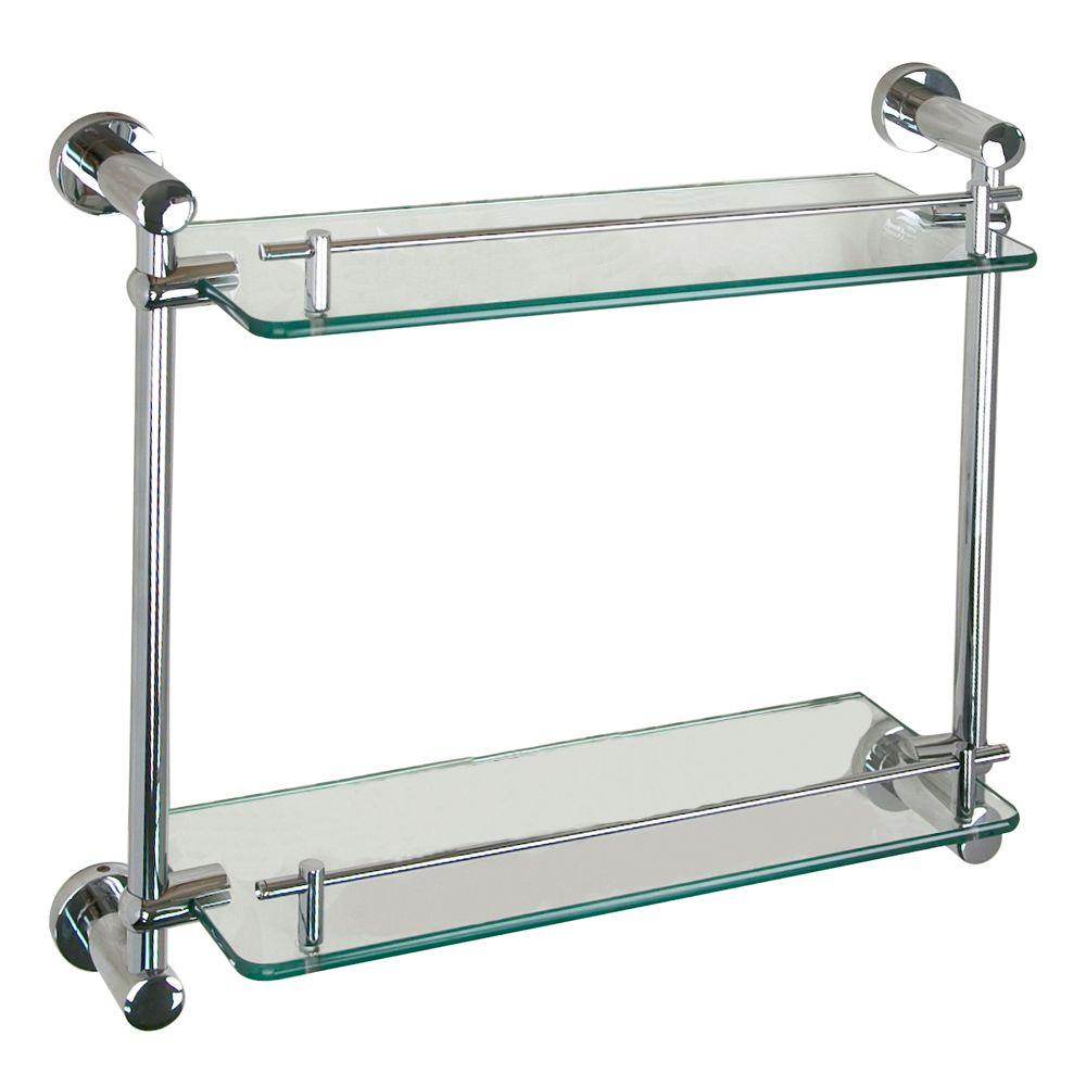 Barclay Products Berlin 17 in. W Double Shelf in Glass and Polished Chrome