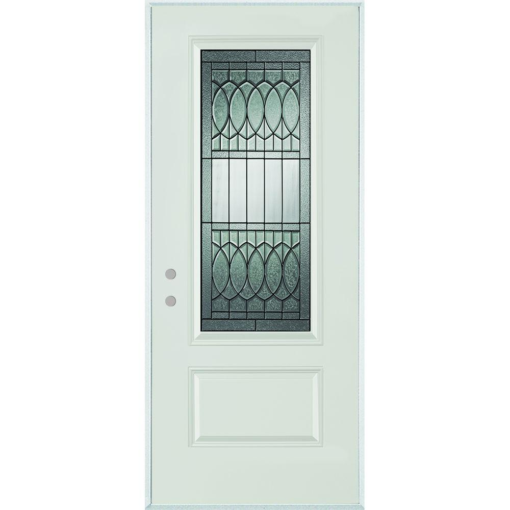 Stanley Doors 36 in. x 80 in. Nightingale Patina 3/4 Lite 1-Panel Painted White Steel Prehung Front Door