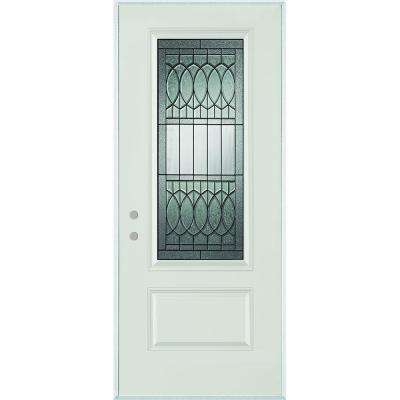 36 in. x 80 in. Nightingale Patina 3/4 Lite 1-Panel Painted White Right-Hand Inswing Steel Prehung Front Door