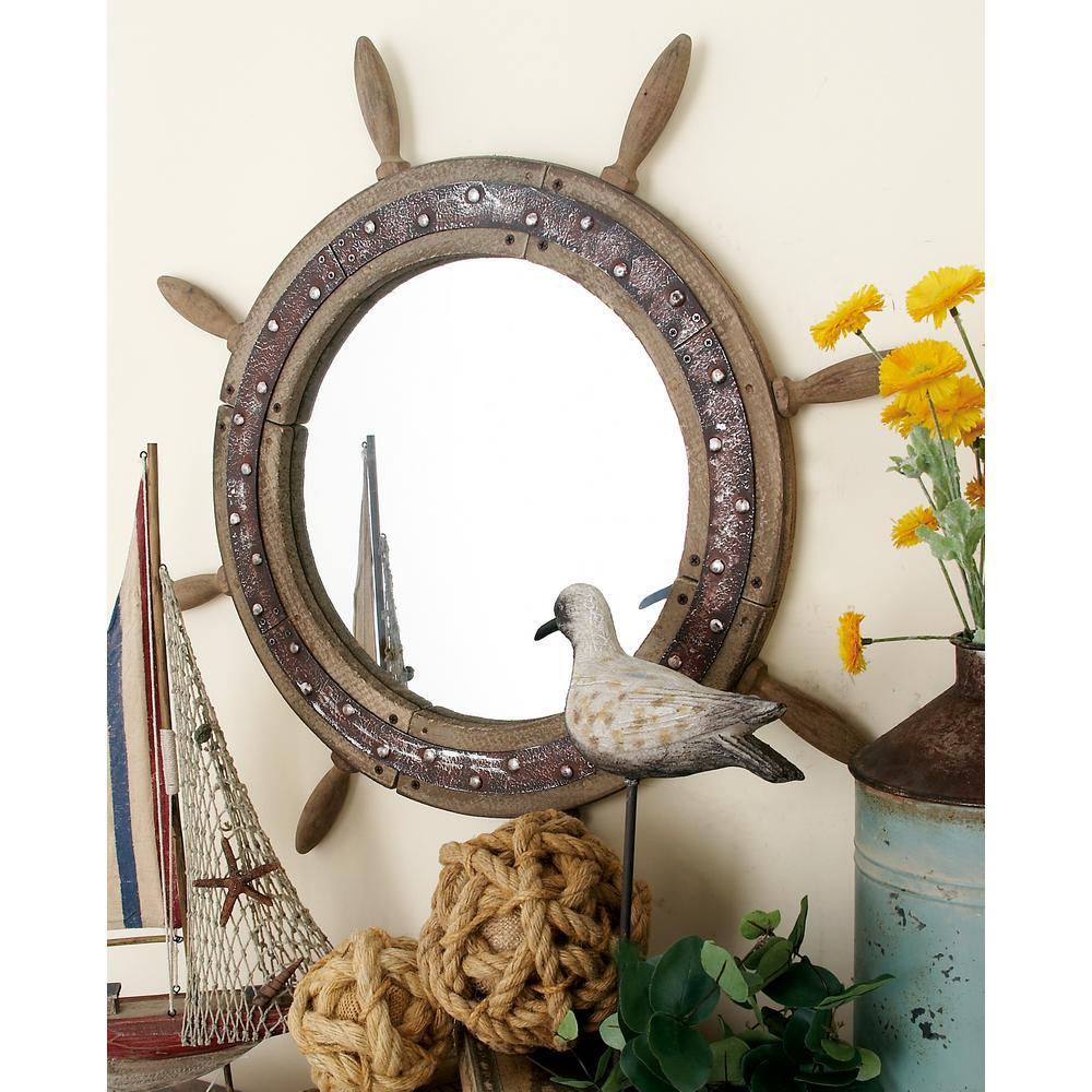 29 in. Dia Ship's Wheel Framed Mirror