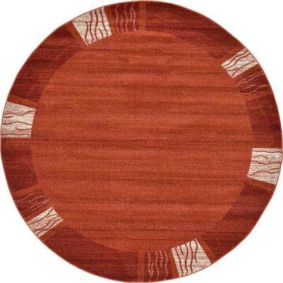 Del Mar Rust Red 8' x 8' Round Rug