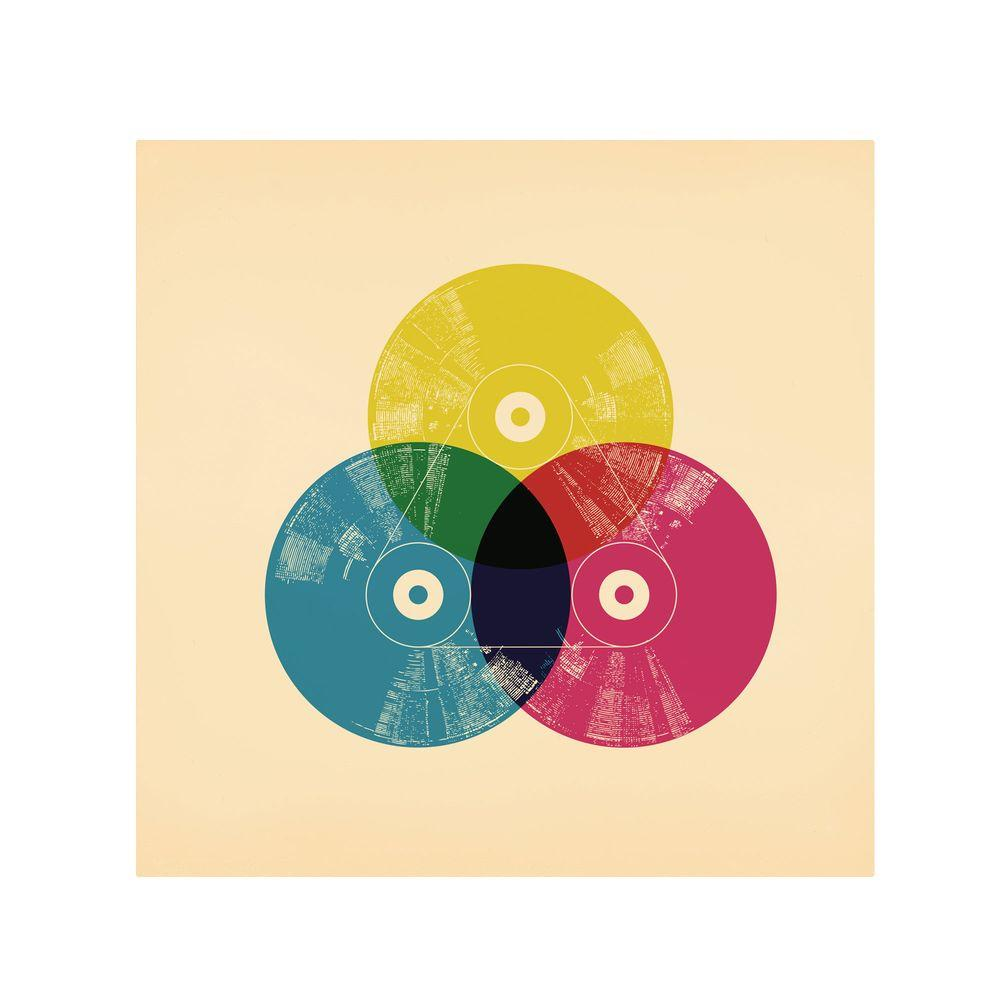 null 14 in. x 14 in. CMYK Record Canvas Art