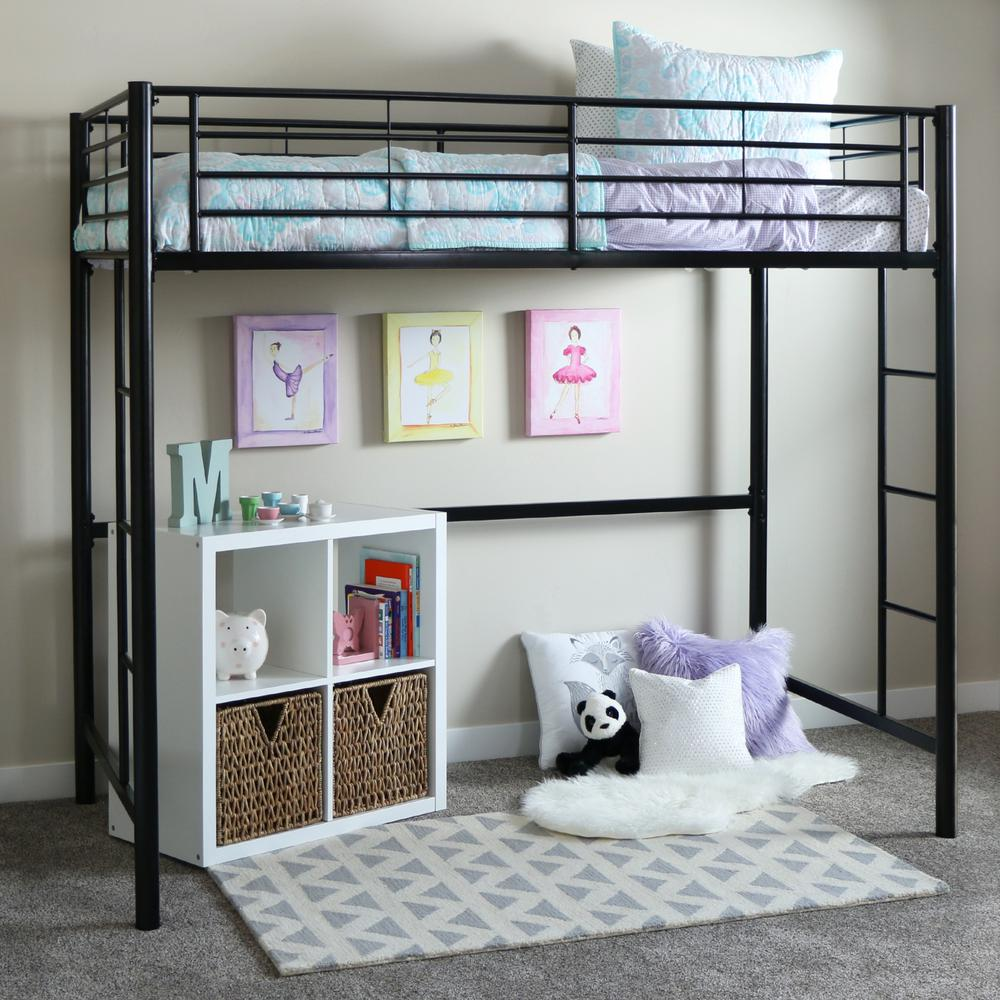 Walker Edison Furniture Company Sunrise Twin Metal Loft Bed BTOLBL   The  Home Depot. Walker Edison Furniture Company Sunrise Twin Metal Loft Bed BTOLBL