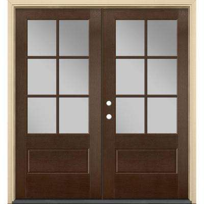 72 in. x 80 in. Vista Grande Stained Left-Hand Inswing 6 Lite Clear Glass Fiberglass Prehung Front Door and Vinyl Frame