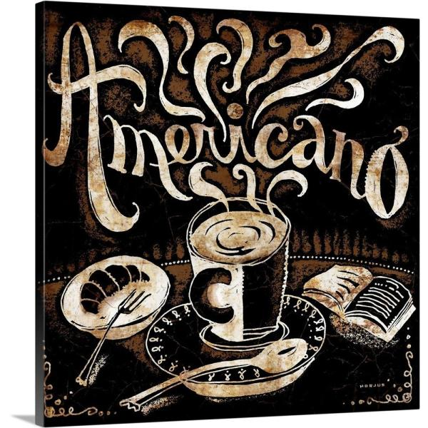 GreatBigCanvas ''Americano and Croissant'' by Peter Horjus Canvas Wall Art