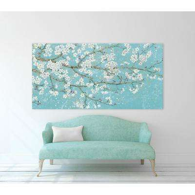 "36 in. x 72 in. ""April Breeze I Teal"" by James Wiens Printed Framed Canvas Wall Art"