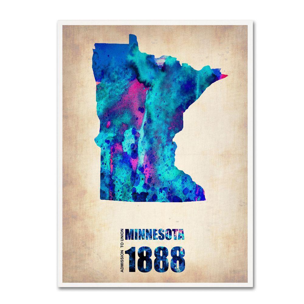 32 in. x 24 in. Minnesota Watercolor Map Canvas Art