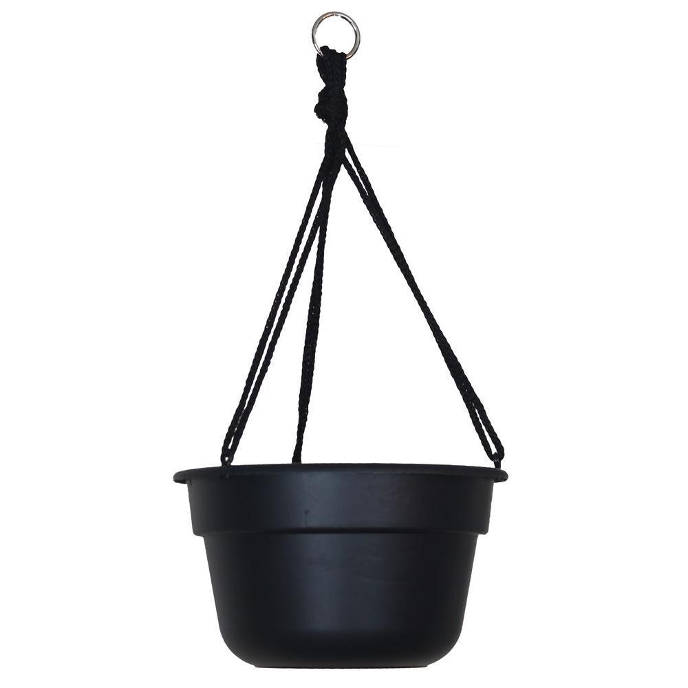 12 in. Black Dura Cotta Plastic Hanging Basket