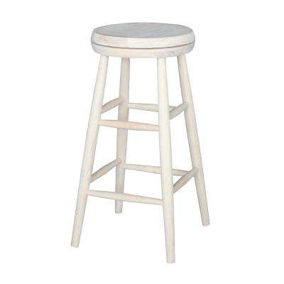 Scooped Seat 30 in. Unfinished Wood Swivel Bar Stool