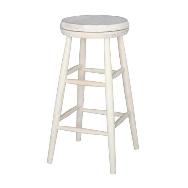 International Concepts Scooped Seat 30 in. Unfinished Wood Swivel Bar Stool