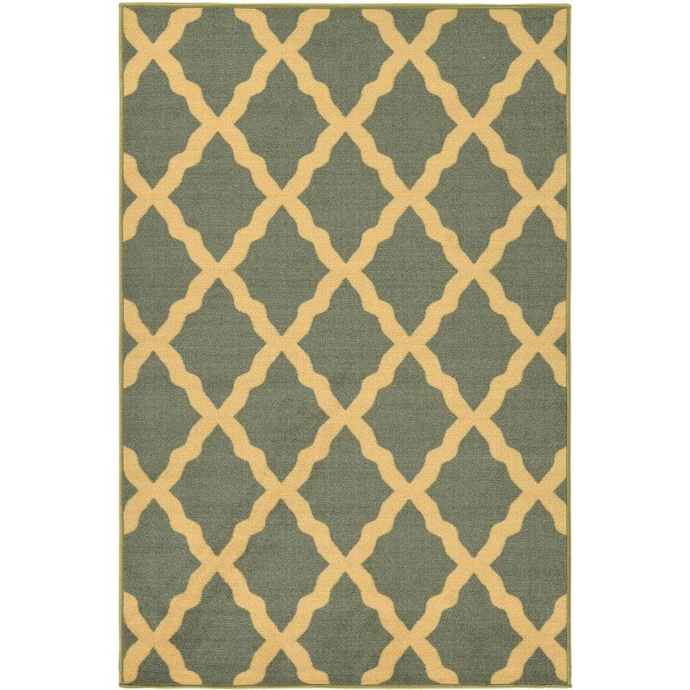 8x10 Sage Area Rug: Ottomanson Ottohome Collection Contemporary Moroccan