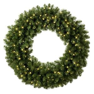 Sequoia Fir 30 in. Pre-Lit Artificial Commercial Wreath with 100 Warm White LED Lights