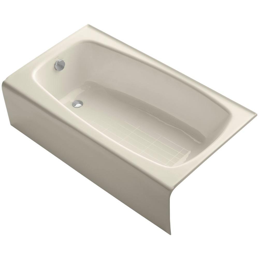 KOHLER Seaforth 4.5 ft. Left Drain Rectangular Alcove Soaking Tub in Almond