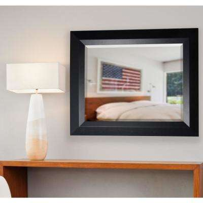 23.5 in. x 35.5 in. Solid Black Angle Rounded Beveled Dresser Wall Mirror