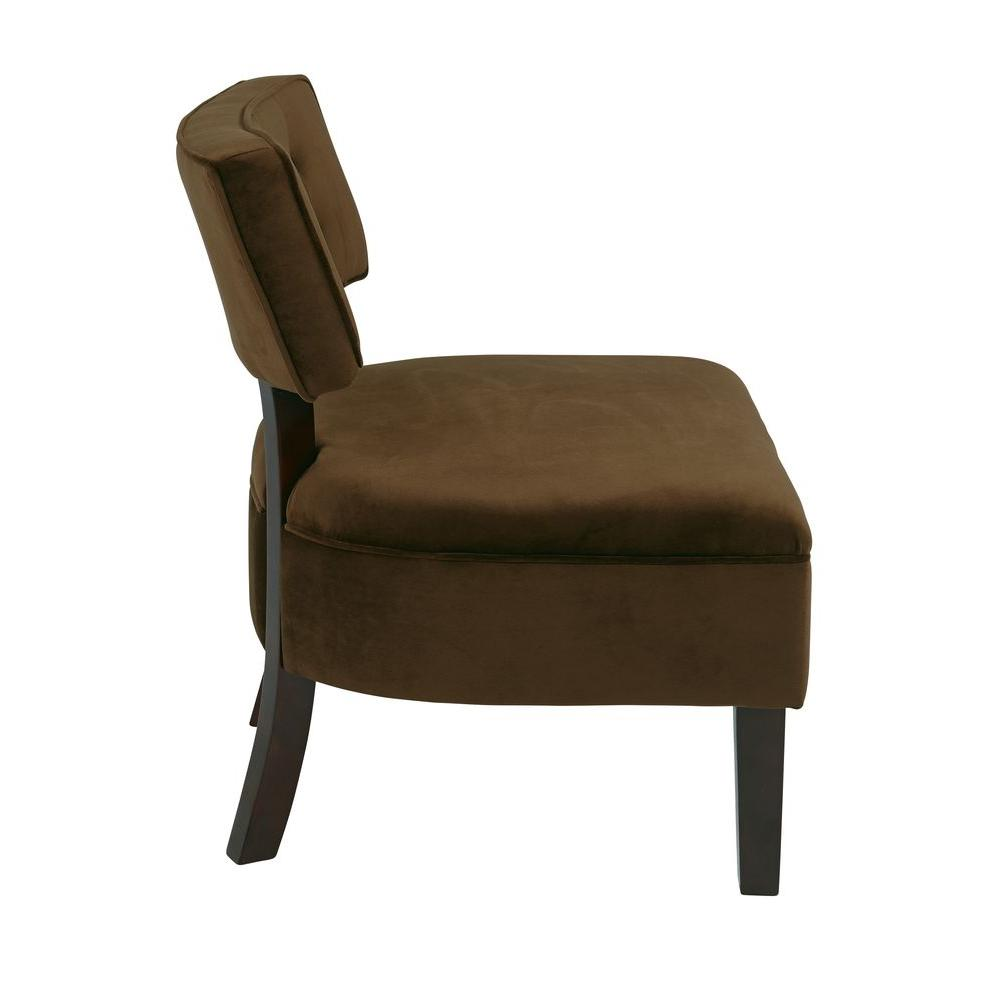 Merveilleux Ave Six Curves Spring Chocolate Velvet Accent Chair