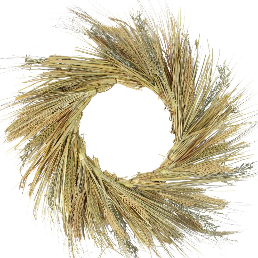 Sorghum Harvest Artificial Wreaths Nearly Natural 4278 25 in Yellow