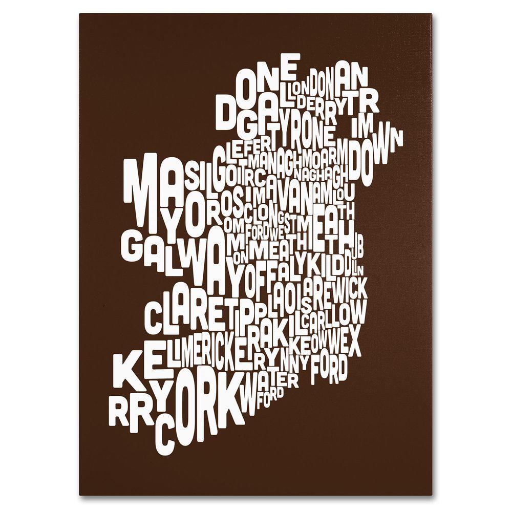 Trademark Fine Art 14 in. x 19 in. Ireland Text Map - Chocolate Canvas Art