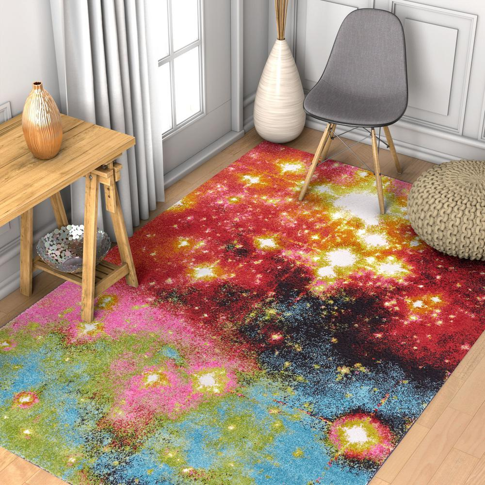 Well Woven Viva Stellar 5 Ft. X 7 Ft. Multi Color Modern Abstract Stardust