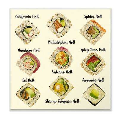 """12 in. x 12 in."""" Sushi Roll Illustration Chart"""" by Melissa Wang Printed Wood Wall Art"""