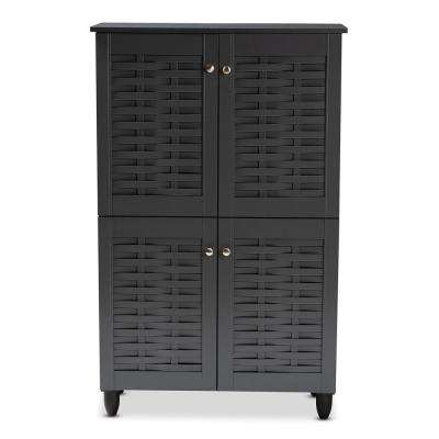 Winda 48 in. H x 30 in. W 18-Pair Dark Gray Wooden Shoe Storage Cabinet