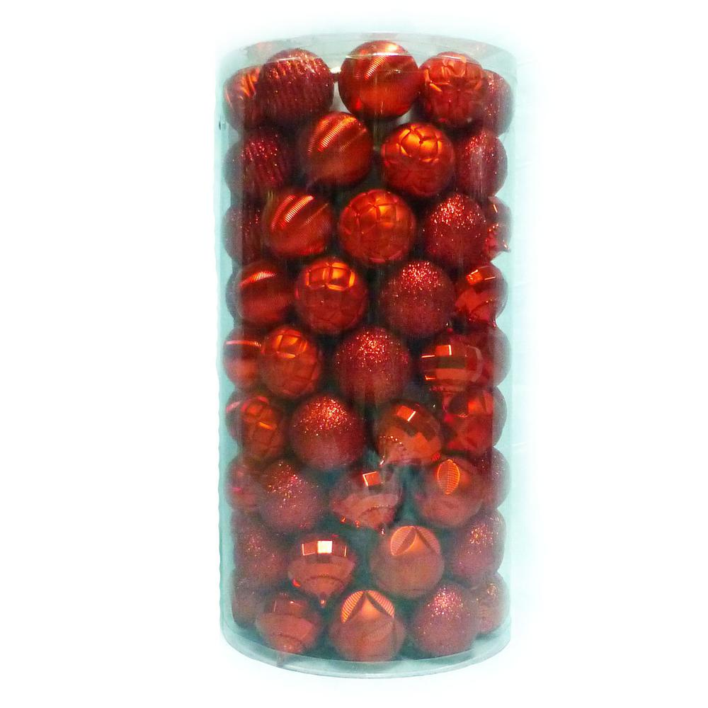 Home Accents Holiday 60 mm 101-Piece Shatterproof Red Ornament Tube