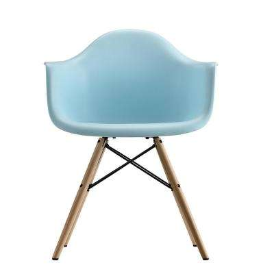 Harper Blue Mid Century Modern Molded Arm Chair with Wood Leg