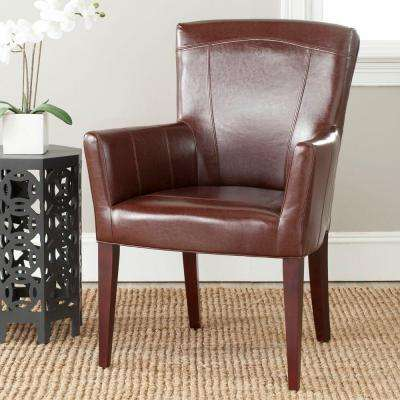 Dale Brown/Cherry Mahogany Bicast Leather Arm Chair