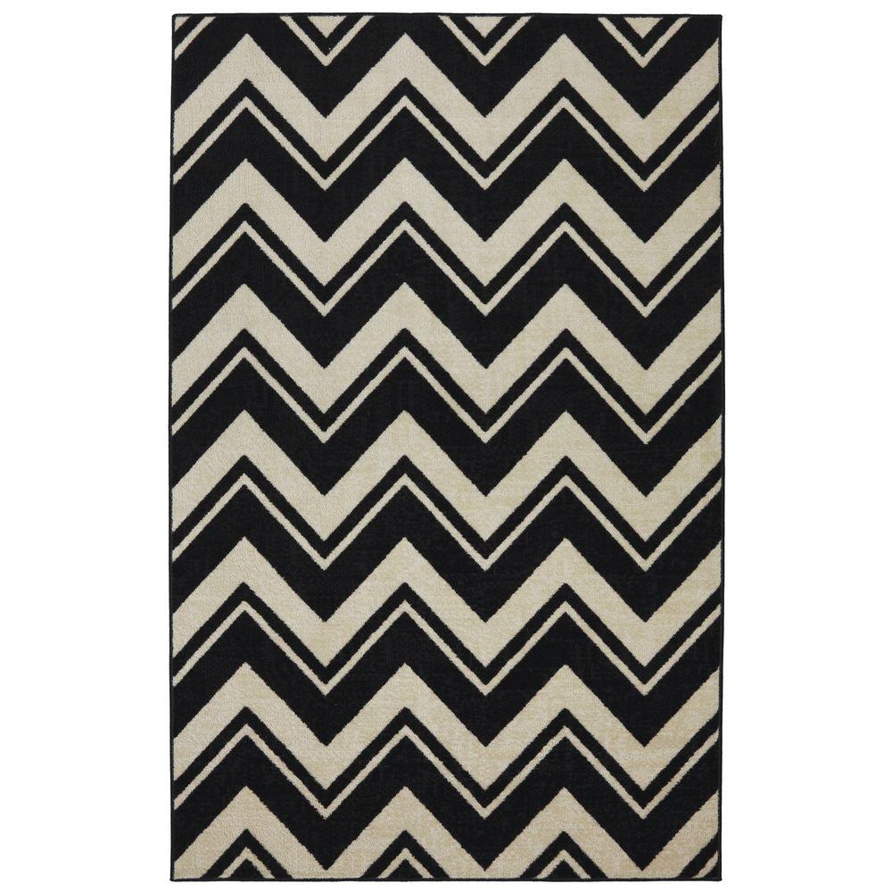 Mohawk Lascala Chevron Stripe Black/White 8 ft. x 10 ft. Area Rug