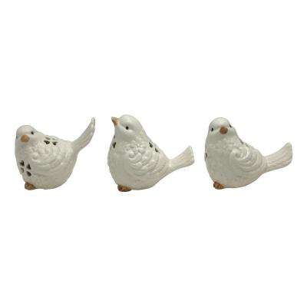 3.25 in. White Ceramic Bird (Set of 3)