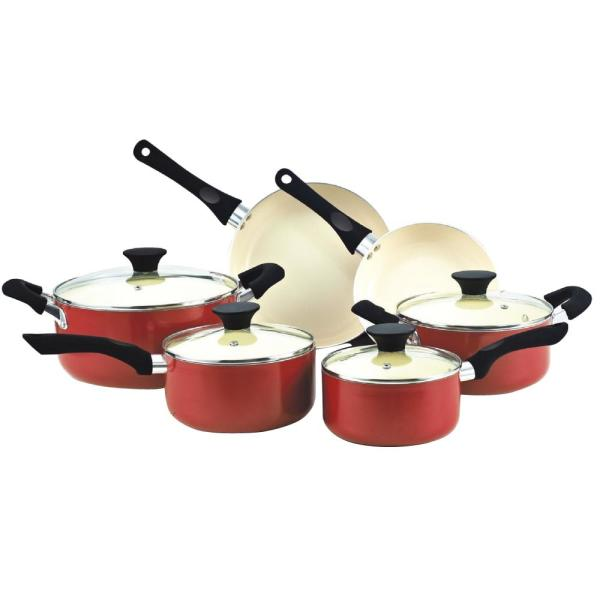 Stay Cool Handle 10-Piece Aluminum Ceramic Nonstick Cookware Set in Red