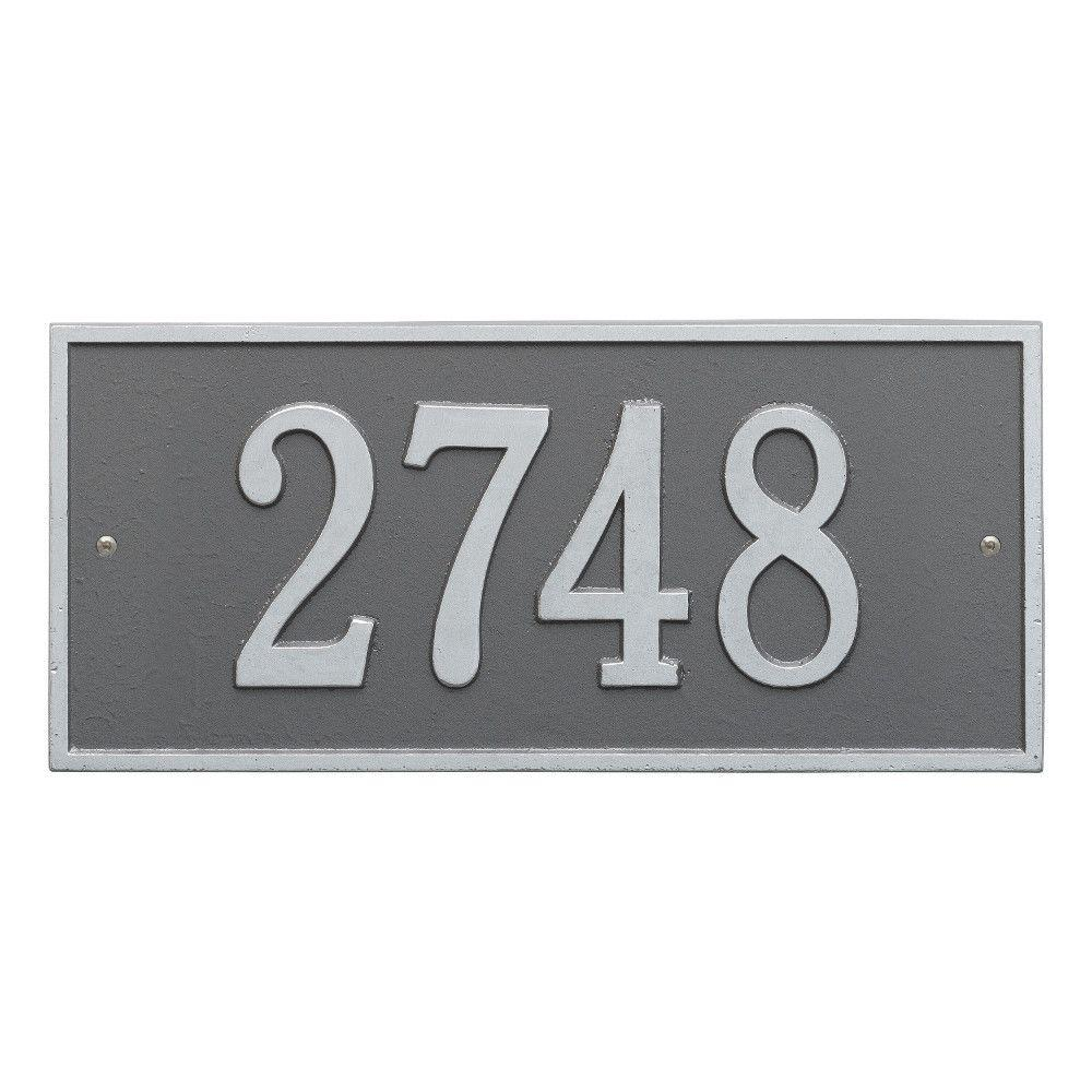 Whitehall Products Hartford Rectangular Pewter/Silver Standard Wall 1-Line Address Plaque