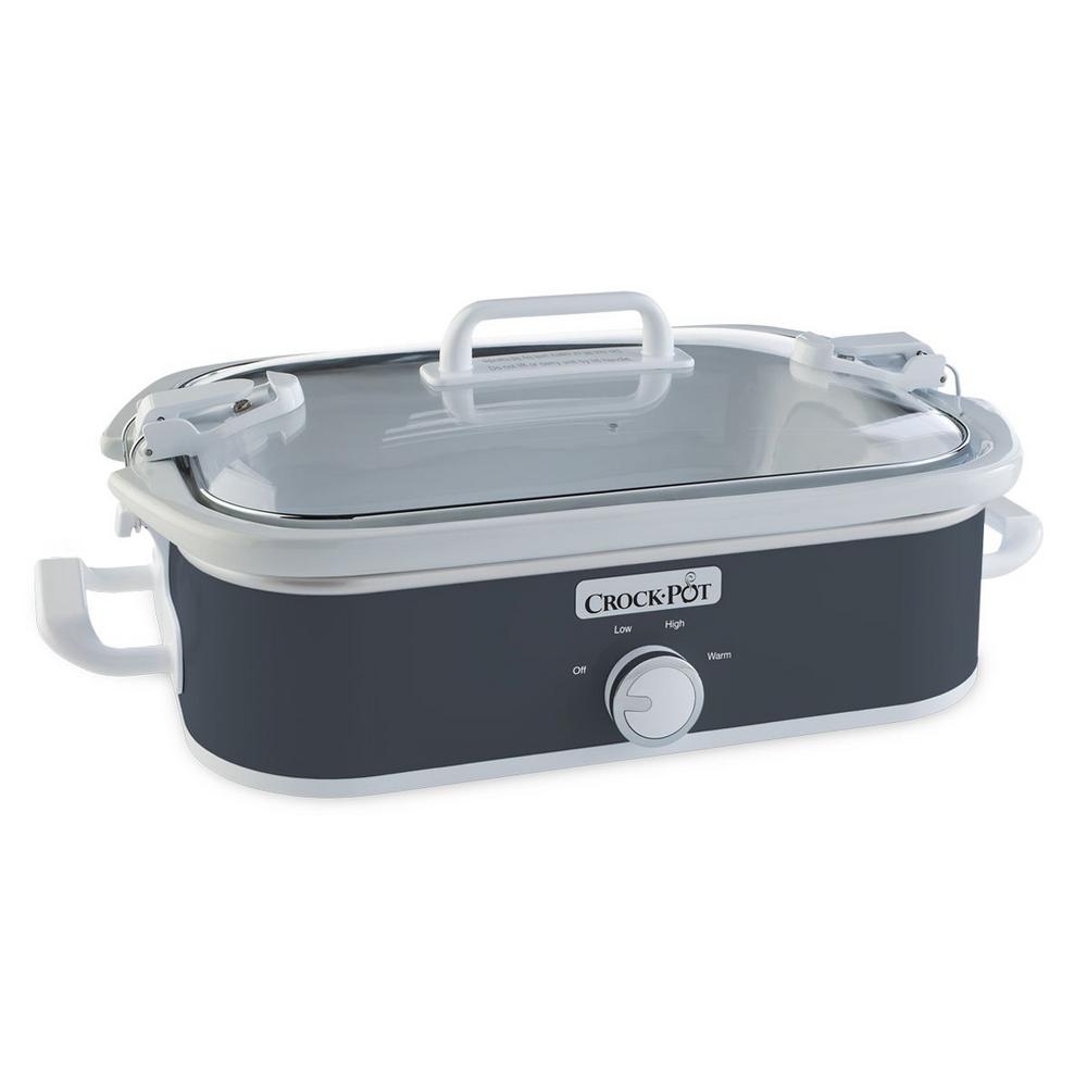 3.5 Qt. Casserole Crock Slow Cooker Charcoal, Black Slate The Crock-Pot Casserole Crock makes family dinners, potlucks and parties easier than ever. Its rectangular design is the perfect size and shape to prepare everyone's favorite casserole dishes, lasagna, desserts and more. It's ideal for make-ahead meals you and your family can come home to - simplifying mealtime. The unique stoneware is also oven-safe for use in conventional ovens to cook and warm. With portability in mind, the Casserole Crock uses our Cook & Carry locking lid system for easy transport, without spills or mess. It also makes entertaining easy so you can prepare a casserole or dish in advance, then let it slow-cook. You can enjoy your guests or get to other party preparations. When your kitchen oven is working on overload, the Crock-Pot Casserole Crock can be your lifesaver by freeing up space in the oven. Color: Black Slate.
