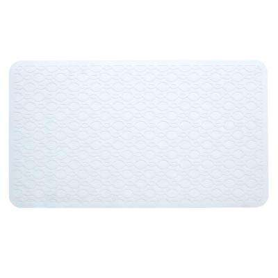 15 in. x 27 in. Large Rubber Safety Bath Mat with Microban in White