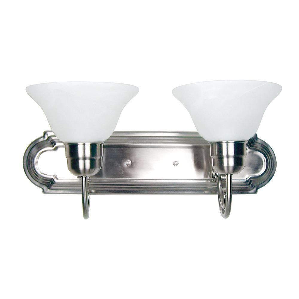 Vanity Lighting Family 2-Light Satin Nickel Frame Bathroom Vanity Light with Alabaster Shade
