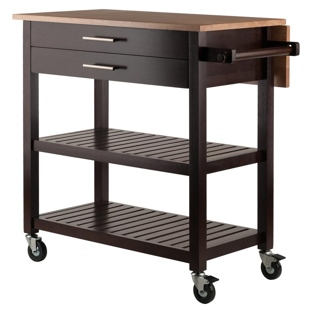 Winsome Wood Langdon Kitchen Cart in Cappuccino/White 40826 ...