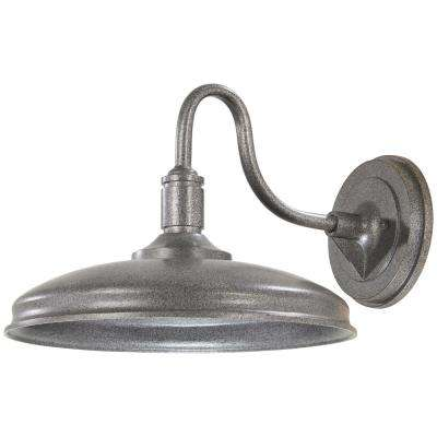 Harbison 1-Light Textured Silver Outdoor Integrated LED Wall Mount Barn Light Sconce Latern