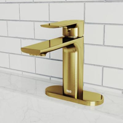 Davidson Single Hole Single-Handle Bathroom Faucet with Deck Plate in Matte Gold