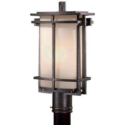 Lugarno Square 1-Light Outdoor Forged Silver Post Mount