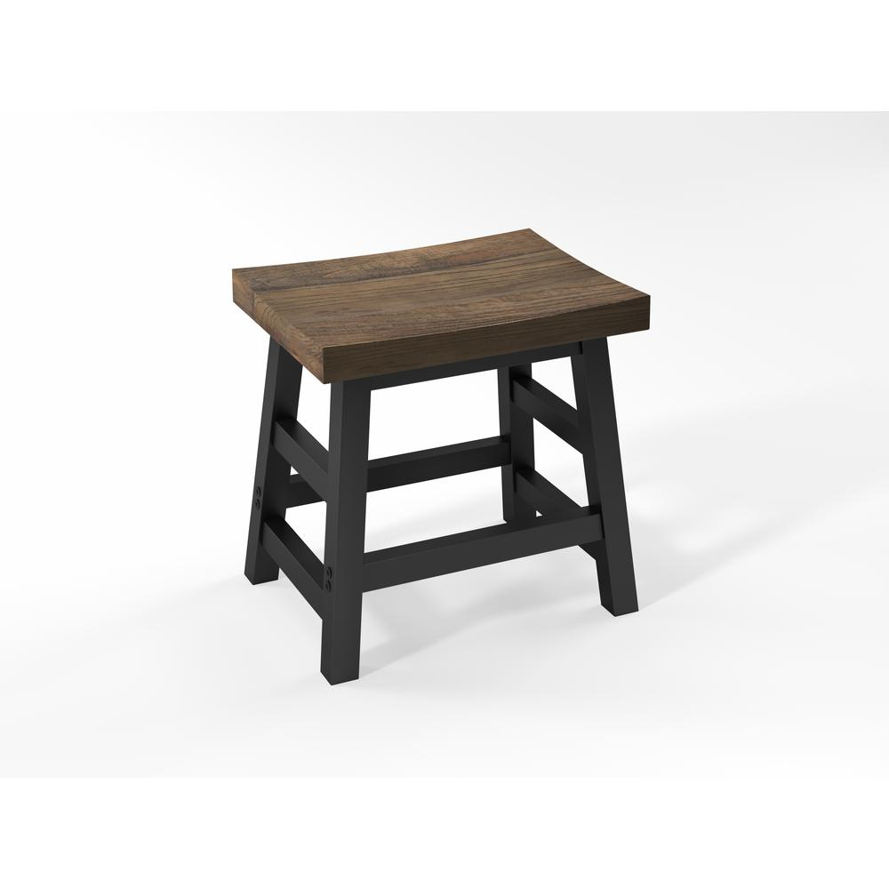 H Brown Reclaimed Wood Bar Stool With Metal Legs