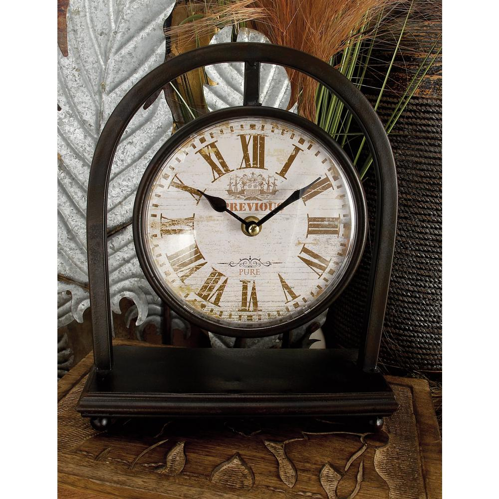 11 in. x 9 in. Vintage-Style Black Suspended Round Table Clocks